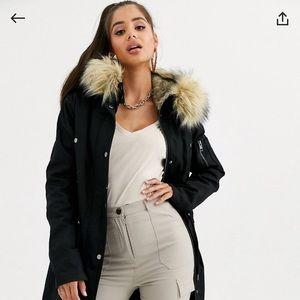 Black Tall Cotton Parka w/ Detachable Fur Lining